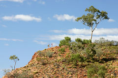 Climbing High. Two climbers make their way up a high cliffside in Australia's outback. Great shot for ambition, determination, adventure, travel, tourism, etc royalty free stock image