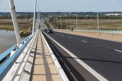 Highway at Pont de Normandie, French bridge over river Seine Stock Photography