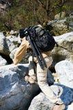 Climbing hiker Stock Image
