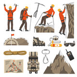 Climbing Hiking Mountaineering Icons Royalty Free Stock Images