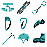 Climbing, hiking, trekking, camping, speleology and ice climbing equipment  set. Stock Photo