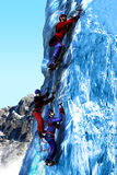 Climbing on ice. Three persons,  a woman and two men, climbing an ice section of a high mountain in the foreground of snowy hillsides Royalty Free Stock Photography