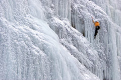 Climbing icefall the cathedral -Sottoguda-Rocca Pietore. Every winter all climber ice are found in Sottoguda Royalty Free Stock Photos