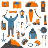 Climbing icons set Stock Photos