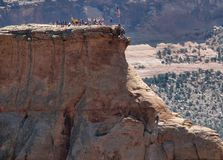 Climbing Independence Monument on July 4th. Raising the flag on the Monument on July 4th. Colorado National Monument offers spectacular views of mountains and royalty free stock image