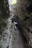 Climbing inside a mountai. Mountain climbing near the city of Veliko Tarnovo, Bulgaria Royalty Free Stock Photography