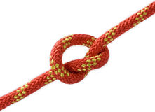 Climbing knot. Isolated on white Royalty Free Stock Image
