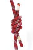 Climbing knot. Alpine dinamic rope with climbing knot Stock Photos