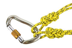 Climbing knots and carabiner Stock Image