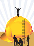 Climbing ladder. Illustration of silhouette men near a  hardhat with climbing ladder Stock Images
