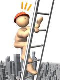 Climbing the ladder at a high Royalty Free Stock Photo