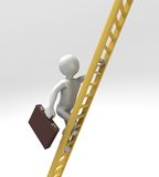 Climbing Ladder of Success (With Clipping Path). 3D render of figure climbing up golden corporate ladder. Includes Clipping Path Royalty Free Stock Photography
