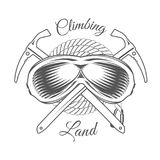 Climbing Land Trip - Mountain Adventure - Alpine Club Vector Emblem - Icon - Print - Badge. In Vintage Black and White Style. Concept for Shirt or Label, Stamp Royalty Free Stock Photography