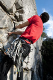 Climbing on limestone stock photos