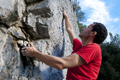 Climbing on limestone Royalty Free Stock Photos