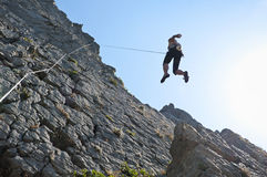 Climbing on limestone stock photography