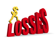 Climbing Losses. A gold dollar sign climbing steps forming the word, LOSSES. On white with drop shadow Stock Photos