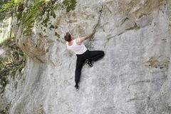 Climbing man in nature Royalty Free Stock Photography