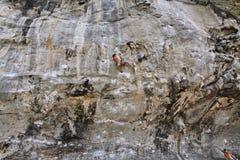 Climbing man woman  thailand TonSai beach cliff rock extreme sports Stock Photo