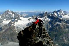 Climbing in the Matterhorn, Switzerland. View from Hornli ridge Royalty Free Stock Photo