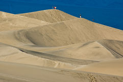 Climbing the Mesquite Flat Sand Dunes Royalty Free Stock Photography