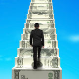 Climbing on money stairs. With blue sky royalty free illustration