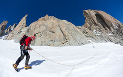 Climbing in Mont Blanc, Alps. Stock Photos