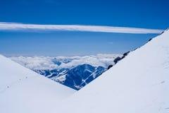 Climbing Mount Elbrus. People climb the highest peak in Europe - Mount Elbrus stock photos