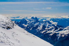 Climbing Mount Elbrus. Stunning views of the vast sky and the world to the bottom of Mount Elbrus Stock Images