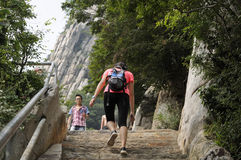 Climbing Mount Song China stairs Royalty Free Stock Photography