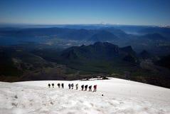 Climbing on a mountain stock image