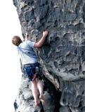 Climbing on mountain. Man climbing on rocky mountain Royalty Free Stock Image
