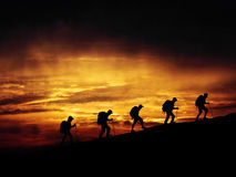 Climbing a mountain Royalty Free Stock Images