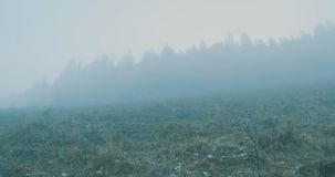 Fog Walking Mountain Slope. Climbing on a mountain slope on foggy day stock video footage