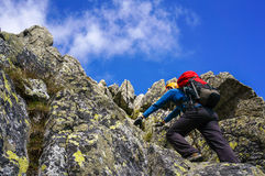 Climbing a mountain Stock Photography