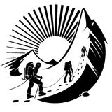 Climbing a mountain. Vector illustration in the engraving style Royalty Free Stock Photography