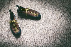 Climbing and mountaineering equipment on a carpet. Shoes, carbine, rope, lope, ascend-er. Concept of outdoor and extreme sport. Stock Photos