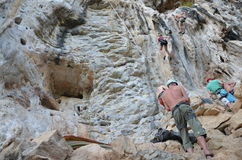 Climbing or Mountaineering at Krabi Thailand Royalty Free Stock Photo