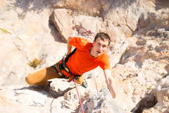 Climbing. Climbing in mountains .Climber Royalty Free Stock Photo