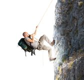 Climbing mountains. Explorer and his passion for climbing mountains Royalty Free Stock Photography