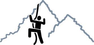 Climbing on mountains icon Stock Photo