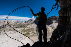 Climbing in the mountains Royalty Free Stock Photography