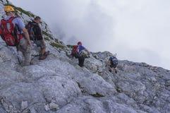 Climbing Mt Mangart. Julian Alps Royalty Free Stock Photography