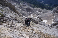 Climbing Mt Triglav. Julian Alps Royalty Free Stock Photo