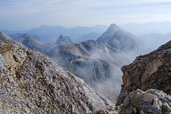 Climbing  mt Triglav, Julian alps. Kredarica mountain hut from little & x28;mali& x29; Triglav Royalty Free Stock Photo