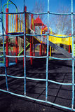 Climbing nets. Childrens playground with climbing nets and slides in view on playground Stock Photos
