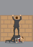 Climbing Over Wall Vector Cartoon Illustration Stock Image