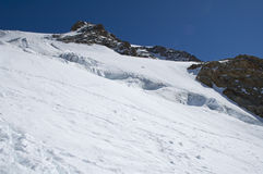 Climbing panorama on glacier Stock Photos