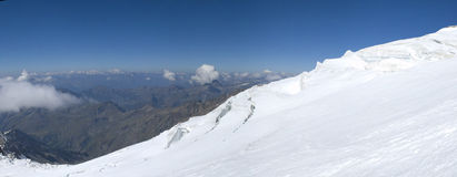 Climbing panorama on glacier. Shots of my last climbing adventure on mountains (alps Royalty Free Stock Image