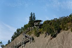 Climbing Path to the top of Montmorency Falls stock image